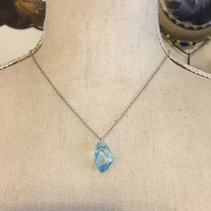 Faceted blue glass slab pendant on chain necklace
